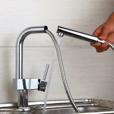 DE 360 Swivel Stream Pull Out Spout Kitchen Basin Sink Faucet Polish Chrome Brass Countertop Tap Hot & Cold Mixer Taps