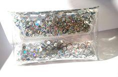Clear purse clutch transparent bag glitter clutch by YPSILONBAGS