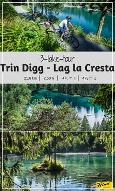 Biking in Flims, Switzerland: Tour with plenty spots to stop and hop in the water. Perfect for a warm summer tour! The starts in Trin Digg and ends at the crystal-clear lake Cresta. Switzerland Tour, Clear Lake, Bike Trails, Mountain Biking, Tours, Crystal, Warm, Explore, Adventure