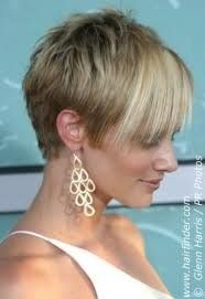 This is a fashion forward pixie. It is edgy, super short, yet long fringe.