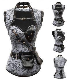 Corset gris a motif steampunk avec ras de cou, bolero et poches ceinture > JAPAN ATTITUDE - VETCOR682   Shop : www.japanattitude.fr