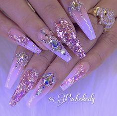 Pink ombré glitter coffin nails with bling pretty nail designs, nail designs bling, simple Nail Designs Bling, Cute Acrylic Nail Designs, Pretty Nail Designs, Pretty Nail Art, Glam Nails, Beauty Nails, My Nails, Hair And Nails, Pink Bling Nails