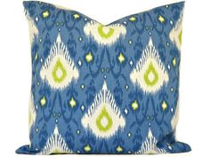 Blue Ikat Pillow Cover Indigo Lime Green Modern by PookieandJack, $22.00