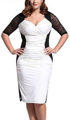 Womens DeepV Neck Elegant Cap Sleeve Vintage Bridesmaid Dress WhiteBlack 0X * Details can be found by clicking on the image. (This is an affiliate link and I receive a commission for the sales)