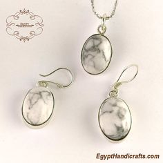 925 sterling silver Natural white Howlite gemstone handmade jewelry set high quality product made from 925 silver and inlay with high quality of white Howlite natural gemstone ,the set consists of earring with pendant.