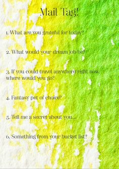 Mail tag free printable questions. Image is A4, but resizes best to A5 or even A6 to include in happy mail or snail mail for your pen pal