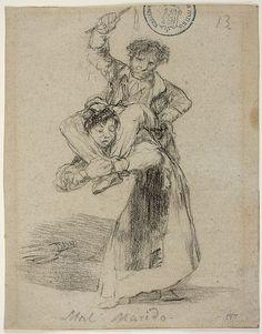 Goya – Mal Marido, 1825-1828; Álbum de Burdeos I o Álbum G, 13; Lápiz negro y lápiz litográfico | Museo Nacional del Prado