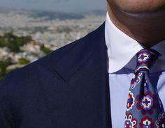 "cordone1956: ""✂️ Details ✂️ Bespoke Jacket , Shirt bespoke collar around white , Ties 7 fold vintage all handmade : www.cordone1956.it """