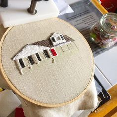 A little more progress on that house! The doors always start to tie everything together which is why I usually leave it 'til last if I can but this cranberry door was so gosh darn cute I couldn't resist. How are your projects coming along? Crewel Embroidery, Embroidery Applique, Portrait Embroidery, Felt House, Stitch Book, House Quilts, Sewing Art, Stitch Patterns, Needlework