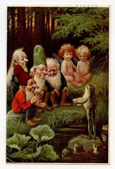O Herrfurth - Frog, Gnomes, Elves, Fairies 1930 Latvia *~❤ Woodland Creatures, Magical Creatures, Fantasy Creatures, Fantasy World, Fantasy Art, Illustrations, Illustration Art, Kobold, Elves And Fairies