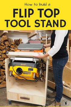 How to build a mobile flip top tool stand - this stand has a Dewalt planer and Ridgid Sander (oscillating spindle sander) but the space saving shop tool cart can accommodate other tools like a grinder, drill press, etc.
