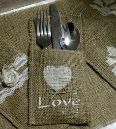 Burlap napkin holders for weddings or parties!!! So cute