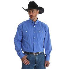 Wrangler Men's George Strait Long Sleeve Button Down Two Pocket Plaid Shirt (Size: XXL) Blue Western Shirts, Western Wear, Wrangler Shirts, George Strait, Plaid, Mens Fashion, Shirt Dress, Long Sleeve, Mens Tops