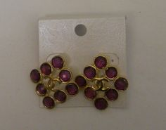 Womens Fashion Stud Earrings Cluster Gold Tone Purple Beads Push Backs Unbranded #Unbranded #Cluster
