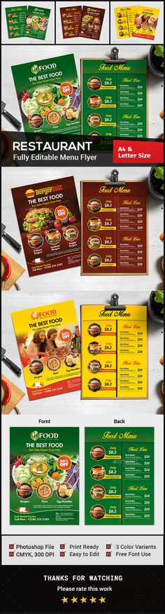 Restaurant Menu Flyer  Flyer Template Template And Menu Restaurant