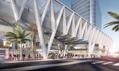 "SOM Reveals Design for ""All Aboard Florida"" Train Station,Miami Station- North concourse view. Image © SOM"
