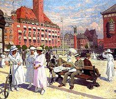 PAUL GUSTAVE FISCHER Københavns rådhus plads med lurblæserne foran Palads hotel