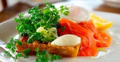 Smoked Ora King Salmon, Potato Waffle, Poached Egg,  Creme Fraiche & Herb Salad