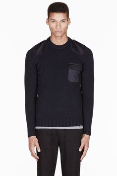 A.P.C. Navy constrasting-paneled CARHARTT edition Commando Sweater