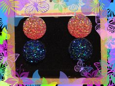 Pink - Blue - Rhinestone - Circular - Crystal - Stud - Earrings by YouveGotSparkle on Etsy