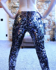 Urban Outfitters Sparkly Silver Sequin Glitter Skinny by TheMiriad