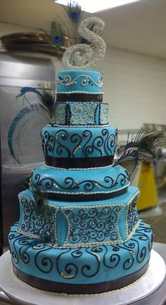 Blue cake with black swirls and bling