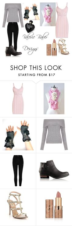 """""""Valerie Baber Designs"""" by sharon-pipkin ❤ liked on Polyvore featuring Hervé Léger, New Look, River Island, SOREL, Valentino, tarte and Lipsy"""