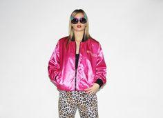 Vintage 90s Reversible Hot Pink Bomber Jacket