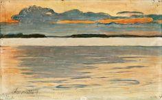 Dusk  -  Pekka Halonen 1897  Finnish 1865-1933  Oil on canvas, glued on board, 18x29 cm.