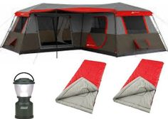 Bundle of 4: Ozark Trail 12-Person 3-Room XL Stadium Cabin Tent,Coleman 4D LED Camp Lantern,and 2 Northwest Territory 3lb. Adult Sleeping Bag ** For more information, visit now : Hiking tents
