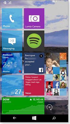 Win10 Phone Start screen