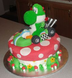 Really detailed Yoshi cake. Looks like he'd fit right in for Mario Kart!