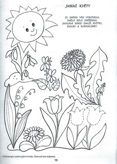 jaro | Výtvarná výchova Basic Drawing, Spring Activities, Free Coloring Pages, Learn To Paint, Spring Flowers, Creative Inspiration, All Art, Textile Art, Paper Dolls