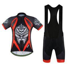 Men's Black Skull Short Sleeve Cycling Jersey Set #Cycling #CyclingGear #CyclingJersey #CyclingJerseySet