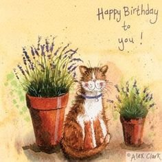 "Happy Cat  ""Lavender"" - Birthday greeting card by Alex Clark"