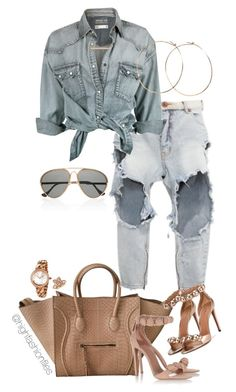 """Untitled #2749"" by highfashionfiles ❤ liked on Polyvore featuring OneTeaspoon, Jennifer Creel, Monique Péan, Finest Seven, Bulgari and Blue Nile"