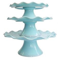 """Three-piece pedestal plate set with ripple trim.     Product: Small, medium, and large pedestal plate    Construction Material: Earthenware    Color: Blue  Dimensions: Small: 4"""" H x 10"""" Diameter Medium: 5.25"""" H x 11"""" Diameter Large: 5.25"""" H x 13"""" Diameter       Cleaning and Care: Hand wash"""
