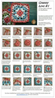 Granny Love Square (I found an old granny square I think my Grammy crocheted. So my ultimate goal in teaching myself to crochet is to make a blanket with that square. Motifs Granny Square, Crochet Motifs, Crochet Blocks, Granny Square Crochet Pattern, Crochet Squares, Crochet Stitches, Crochet Patterns, Granny Squares, Easy Granny Square