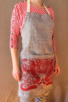 Yarn Dyed Linen Lobsters apron by SarahElizabethShop on Etsy, $48.00
