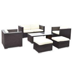 6 pcs Patio Rattan Wicker Furniture Set