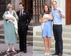 Princess Diana, 1982 and Kate Middleton, 2013 New mom Kate Middleton wore a custom-made, cornflower blue Jenny Packham dress to unveil her newborn son George Alexander Louis to the public for the first time. Her polka-dot print dress was strikingly similar to the one Princess Diana donned as she stood on the same steps at St. Mary's Hospital in June 1982 when Prince William was born.