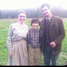 When Calls the Heart (behind the scenes). Mary, Caleb, and Mr. Dewitt