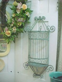 Shabby Chic Wrought Iron Wall Decor - Vintage Distressed - Cottage Slate Blue