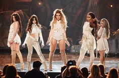 Lauren Jauregui, Camila Cabello, Dinah Jane Hansen, Normani Kordei, and Ally Brooke of Fifth Harmony perform onstage during the 2016 American Music Awards at Microsoft Theater on Nov. 20, 2016 in Los Angeles.