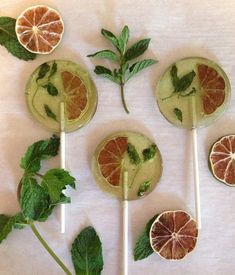 NEW  3 Mojito flavored lollipops with organic limes and mint leaves by asecretforest,