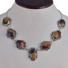 FOR SELL MOOKAITE 925 SOLID SILVER NEW STYLE BEAUTIFUL NECKLACE 49.34g NK0041 #Handmade #NECKLACE