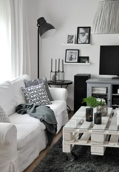 black and white living room, white sofa