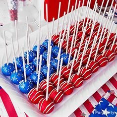 Patriotic Cake Pops. Pulse a bag of Oreos in food processor. Add a package of softened cream cheese. Roll into balls. Insert sticks. Dip in melted white chocolate colored with food coloring. Decorate with sprinkles and drizzled white chocolate. Let the fireworks commence.