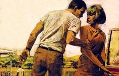 """Michael Johnson: """"I looked forward to being surprised, and always delighted, with what he produced. Michael Johnson, 60s Art, Driftwood Art, Pulp Art, Couple Art, Pulp Fiction, Book Illustration, Figurative Art, Cover Art"""