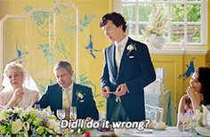 When the speech begins in an unbelievably awkward way and sherlock spins it around to be the best best-man speech ever